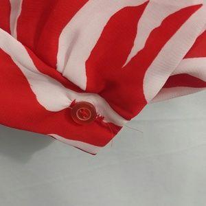 Tops - Vintage Red & White 60's Secretary Modest Blouse